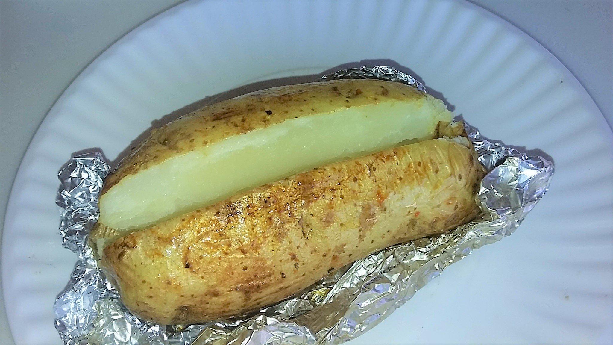 finished grilled whole potato baked