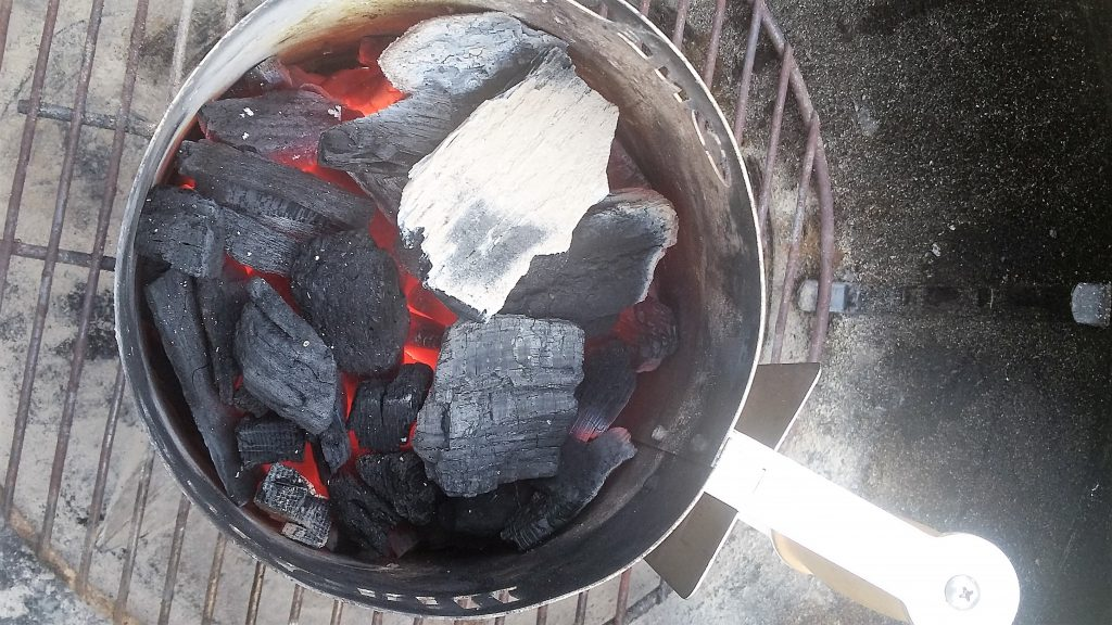 natural lump charcoal in chimney