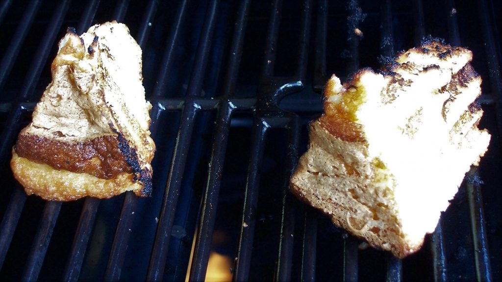 Grilled angel food cake on the grill
