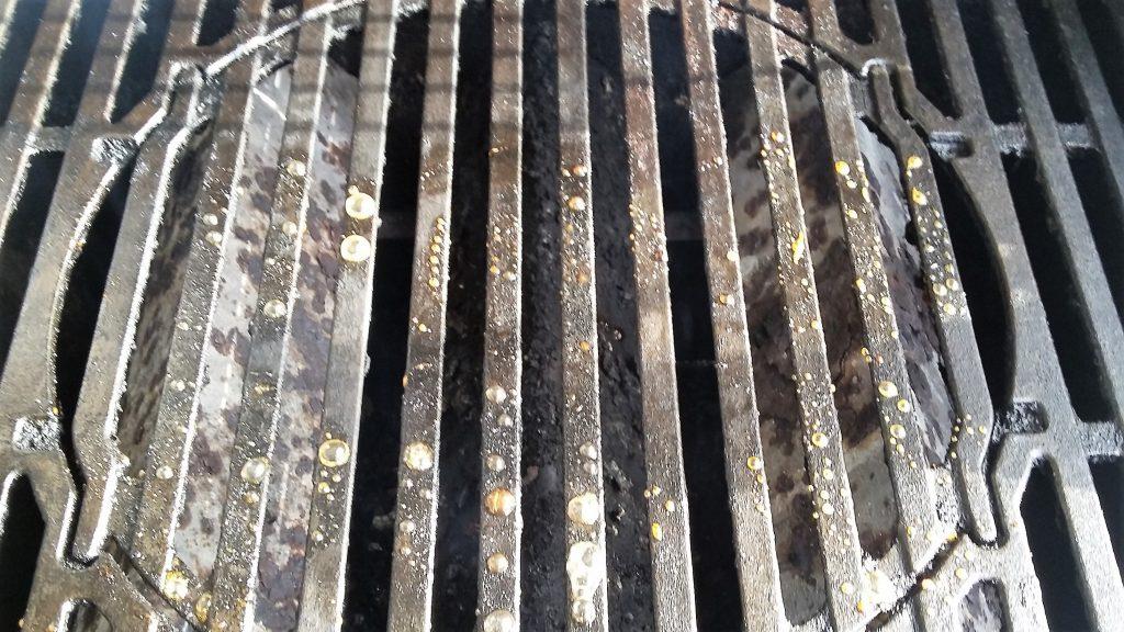 Sticky glaze mess left on grill grates
