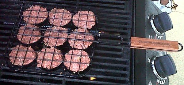 mini burger grill basket on grill