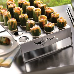 Jalapeño popper grill rack in use