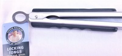 Steven Raichlen long grill tongs handle close up