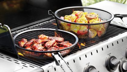 Jumbo Mesh Grill Basket parts in use