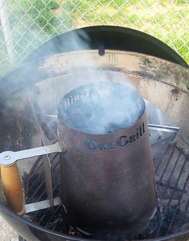 charcoal chimney smoking