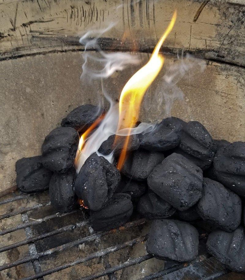 Lighting charcoal with royal oak tumbleweed