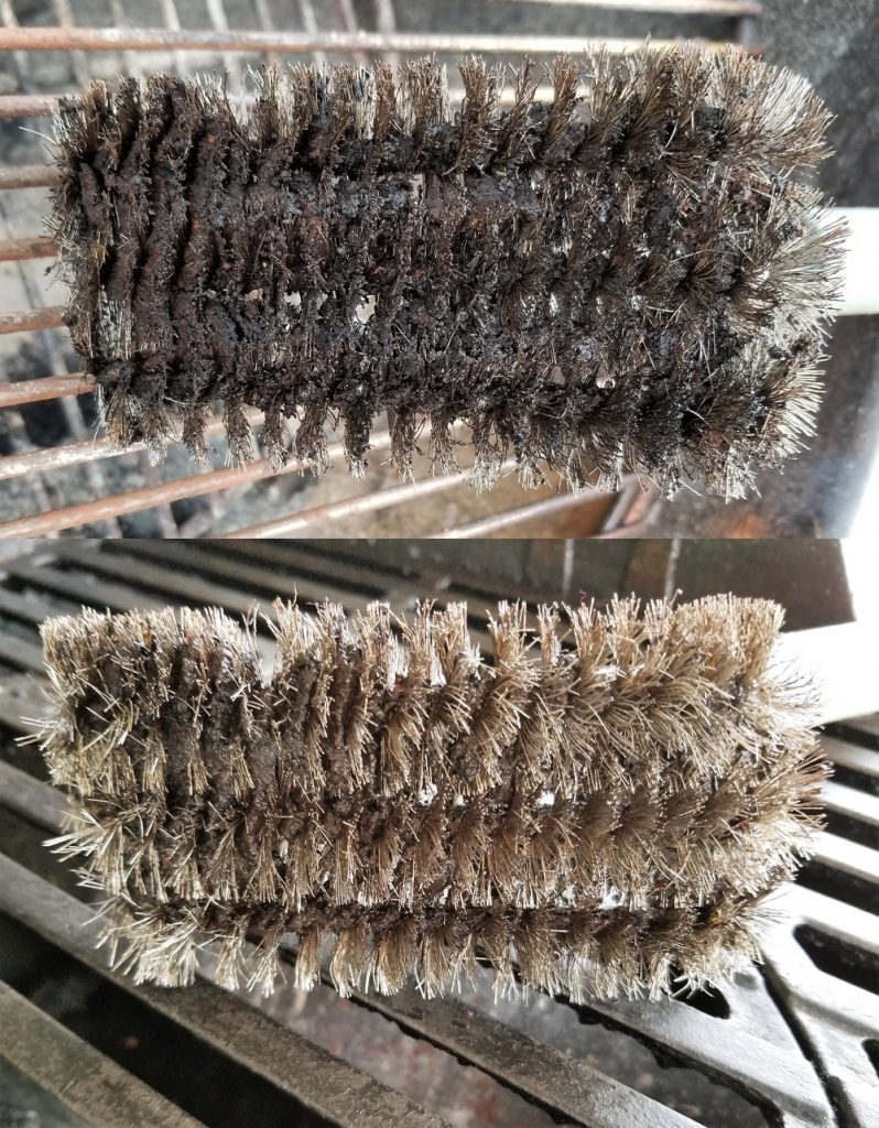 Grill brush before and after using grill grate cleaner