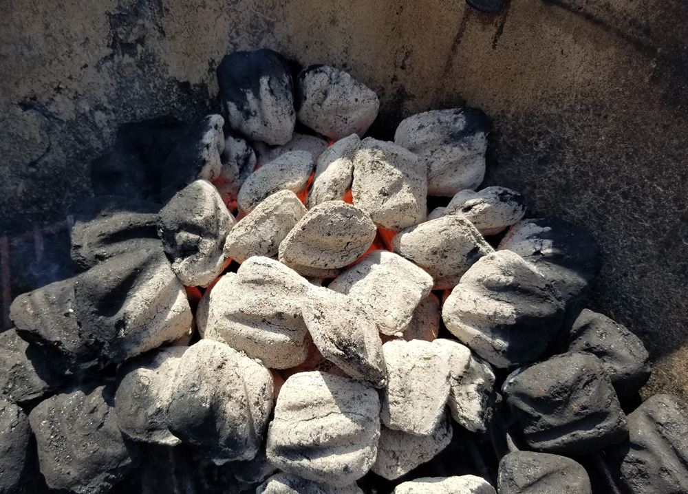 Pile of lit charcoal